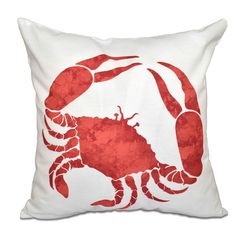 """Beachcrest Home Surrey Crab Throw Pillow Size: 16"""" H x 16"""" W, Color: Coral"""