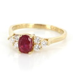 Pre-Owned Vintage 14 Karat Yellow Gold Diamond Natural Ruby Small... ($995) ❤ liked on Polyvore featuring jewelry, rings, accessories, no color, cocktail rings, 14k gold ring, diamond cocktail rings, 14k diamond ring and gold diamond rings