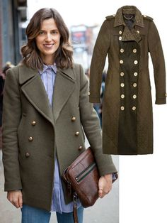Cool Weather Chic: Officers Club - It's a military moment when it comes to outerwear, with gold-buttoned army green peacoats and officers' overcoats taking winter by storm. Burberry Prorsum coat.
