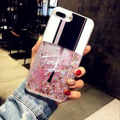 $4.88 - Bling Liquid Quicksand Nail Polish Back Cover Iphone X 8 7 6 6S Plus Case #ebay #Electronics