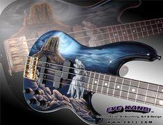 custom bass guitar | Guitar Custom Painting Fender Precision Bass Loner Wolf by Eye Kandi ...