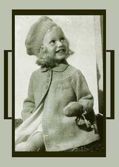 PDF Vintage Knitting Pattern Baby Girl Darling Princess Coat and Jaunty Beret Hat Toddler P & B Patons and Baldwin Easy Knitting, Knitting For Kids, Baby Knitting Patterns, Baby Patterns, Coat Patterns, Crochet Patterns, Toddler Mittens, Special Girl, Boy Doll