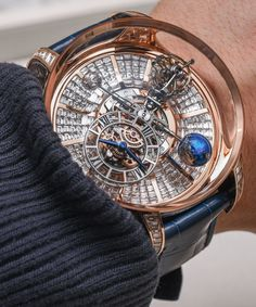 "Jacob & Co. Astronomia Tourbillon Watches Hands-On - by Ariel Adams - see the hands-on video, extensive picture gallery, & read more: http://www.ablogtowatch.com/jacob-co-astronomia-tourbillon-watch-baselworld-2015/ ""Easily one of the most impressive things I strapped to my wrist at Baselworld - The Watch and Jewellery Show 2015 was the completed Jacob & Co. Astronomia Tourbillon watch (as well as the diamond-set Jacob & Co. Astronomia Tourbillon Baguette). There was a very real and very wide sm Skeleton Watches, Best Watches, Amazing Watches, Watches For Men, Fine Watches, Beautiful Watches, Cool Watches, Luxury Watches, Unique Watches"
