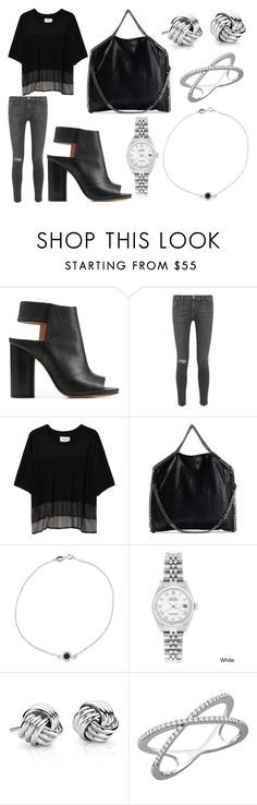 """Lunch Date and Drinks"" by laura2703 ❤ liked on Polyvore featuring Maison Margiela, Frame Denim, Public School, STELLA McCARTNEY, Jennifer Meyer Jewelry, Rolex, Blue Nile and Wish by Amanda Rose"