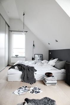 Crisp white, pale wood and charcoal gray, scandinavian eave