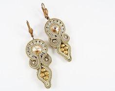 Long soutache earrings with jaspers by AnnaZukowska on Etsy