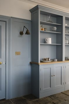Spitalfields cupboards with Folgate doors with an Oak top to Dresser, painted in Little Greene Paint Company's 'Bone China Blue' 107 Cottage Kitchens, Home Kitchens, Little Greene Paint Company, Kitchen Dresser, New Kitchen, Country Kitchen, Kitchen Ideas, Kitchen Decor, Bespoke Kitchens
