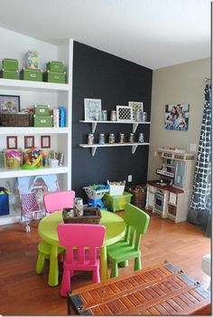 Shelves on blackboard wall, and great colors for a playroom / kids' room.
