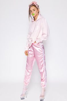 PINK TRACKIEZ || SHOP HERE: https://www.goodbyebread.com/collections/o-mighty/products/silk-kitten-trackiez-powder-pink #goodbyebread #photoshoot #omighty #omweekend #silk #trackiez #powder #pink #sweatpants #elastic #waistband #drawstring #baggy #fit #wasted #sweater #dreadlocks #heels #tights #stripes
