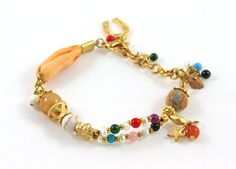 ON SALE  Natural Beaded Charm Bracelet  Gift Idea