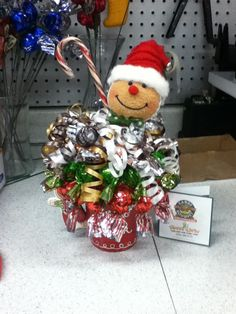 Gingerbread Man candy bouquet/sundae. ~Sweet Ideas