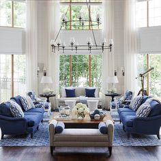 Nautical Living Room Decorating Ideas With Navy Blue Seating . Living Room Grey, Home And Living, Living Room Decor, Cottage Living, Modern Living, Living Room Designs, Living Spaces, Living Rooms, Blue Rooms