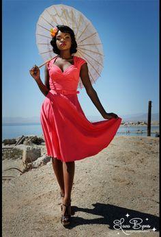 Heidi Dress in Bright Coral