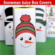 These Free Snowman Juice Box Covers Printables include four adorable designs. Perfect for winter parties or Christmas celebrations! Kids Christmas Coloring Pages, Coloring For Kids, Halloween Juice, Snowman Party, Free Printable Tags, Winter Parties, Cool Whip, Covered Boxes, Christmas Colors