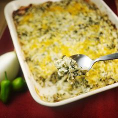 Green Chile-Cheese Rice Casserole | Meals.com -  This spicy casserole uses common pantry items for an easy vegetarian meal. Want even more spice? Sub in jalapeños for the green chiles for an extra kick! #meatlessmonday #vegetarian