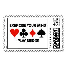 """Game Is Equivalent To Perfection (Card Suits) Postage Here's a stamp that any duplicate bridge player will enjoy! Stamp features the four card suits along with the saying Game Is Equivalent To Perfection"""". Bridge Card Game, Duplicate Bridge, Play Bridge, Self Inking Stamps, Funny Cards, Marketing Materials, I Am Game, Postage Stamps, The Ordinary"""