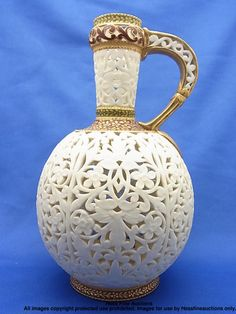 1890s Grainger & Co Royal Worcester Reticulated Islamic Porcelain Ewer Pitcher