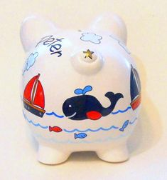 Personalized Piggy Bank Navy Blue Whales with Sailboats Fish image 1 Personalized Piggy Bank, Shells And Sand, One Stroke Painting, Blue Whale, Sailboats, Pink Flamingos, Whales, Color Change, Winnie The Pooh