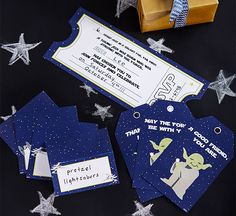 Cinema-themed invitations for a Star Wars party.