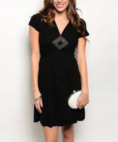Look what I found on #zulily! Black Embellished Cap-Sleeve Dress by Buy in America #zulilyfinds