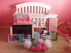 The makings of Emersyn's nursery - pink & aqua shabby chic