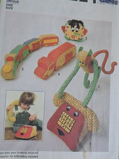 Items similar to Clock Telephone Monkey Truck Train Stuffed Toy Vintage Doll Simplicity 8224 PATTERN Dolls Craft Vintage 1977 on Etsy Cool Patterns, Vintage Patterns, Costume Patterns, Stuffed Toy, Doll Crafts, Baby Room Decor, Telephone, Gifts For Him, Cross Stitch Patterns