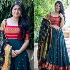 Royal Blue Color Party gown with heavy Banarasi Dupatta Long Gown Dress, Sari Dress, Anarkali Dress, Long Frock, Lehenga Choli, Indian Gowns Dresses, Indian Fashion Dresses, Frock Fashion, London Fashion