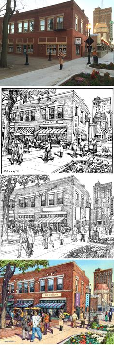 CMAP. Aurora, IL Urban Design Drawing Process. Site Photo, Prelim Study, Final Ink, Final Color. Charrette drawings by Bruce Bondy, Bondy Studio Landscape Drawings, Landscape Art, Landscape Architecture, Concept Art Tutorial, Urban Design Plan, City Drawing, City Sketch, Study Pictures, Background Drawing