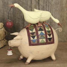 Geese sitting on a Pig holding a Apple Figurine - Everyday Folk Art Figurines & Collectibles – Williraye Studio $37.50