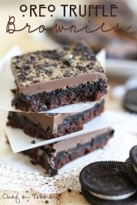 My husband LOVES Oreo Truffles… almost a little too much! Sometimes I think he would feel complete in life if he could eat those for the rest of his life! I love them too, but I also LOVE brownies! Funny story for you. I don't think it is normal for a person to think about …