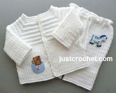 Free baby crochet pattern for boys christening outfit… Crochet Baby Sweaters, Gilet Crochet, Crochet Baby Cardigan, Crochet Baby Clothes, Crochet Jacket, Baby Knitting, Crochet Bebe, Crochet For Boys, Baby Set