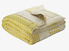 LUNDI YELLOW Cotton Yellow patterned reversible double bedspread - HabitatUK