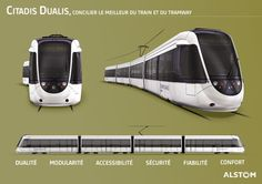 Alstom's Citadis Dualis is an efficient tram-train solution for suburb-to-city or suburb-to-suburb travel. It switches effortlessly between the passenger rail network and a street-level city tramway. Airplane Car, Tramway, Light Rail, Rolling Stock, Train, Transportation Design, Locomotive, Motor Car, Automobile