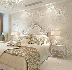 Paredes 3D Rolos Papel De Parede Foto Papel de Parede de Luxo Europa Vintage para Sala de estar Decoração de Casa papel de parede DO DAMASCO Floral Rolo #luxurybedroom
