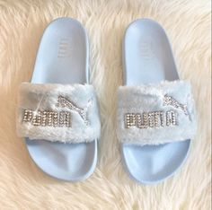 Rihanna s Bling Custom Women s Puma Fenty Fur Slides In Pastel Blue With  Beautiful Swarovski Crystals Limited Edition 1c679b706