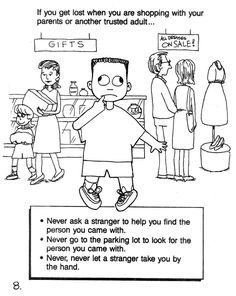 If you are lost in a mall...Stranger safety coloring sheet #8 for free.  Coloring Book for Kids to talk about Stranger Safety for National Missing Childrens Day (May 25th).
