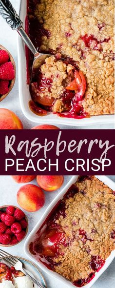 This Easy Raspberry Peach Crisp Is One Of Our Favorite Dessert Recipes The Buttery Crumb Topping Paired With The Sweet Peaches And Tart Raspberries Is Absolute Summer Perfection It's Easily Made Gluten-Free, Dairy-Free And Vegan Via Joyfoodsunshine Summer Dessert Recipes, Healthy Dessert Recipes, Fun Desserts, Gourmet Recipes, Raspberry Dessert Recipes, Desert Recipes, Dessert Simple, Dessert Sans Gluten, Snacks Sains