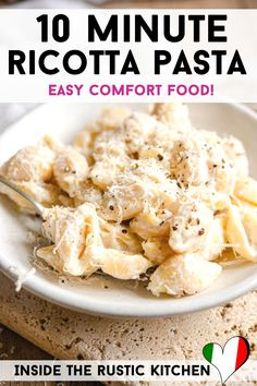 Pasta Recipes With No Sauce, Quick Pasta Sauce, Easy Pasta Recipes, Veggie Recipes, Italian Pasta Recipes Authentic, Italian Recipes, Ricotta Pasta, Pasta Shapes, How To Cook Pasta