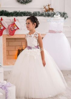 Beautiful Ball Gown Flower Girl Dresses for Wedding 2015 Lace Sheer Crew Neck Sash Beading Tulle Floor Length Girls Birthday Pageant Dresses