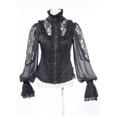 Black Cotton and Lace Shirt