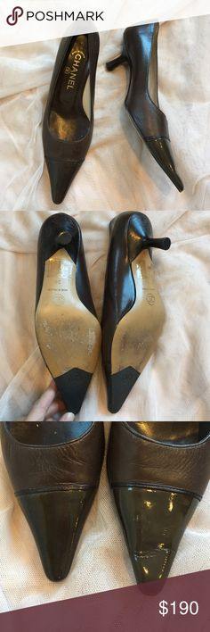 CHANEL! Brown leather w/ with patent toe! Classic and timeless ! Hate to give these up 😐Chocolate Brown leather CHANEL pumps with patent leather cap toe. Some scuffing/wear in leather and left patent leather toe is a little bent. Fit like a larger 6 since they have been worn. Originally $750; the defects are minor and not noticeable - happy to post more pics if needed. Really great deal for classic CHANEL!! CHANEL Shoes Heels