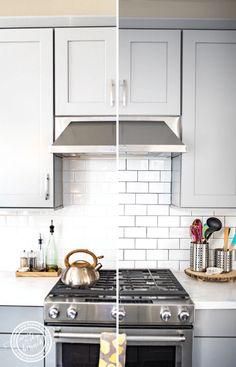 Backsplash Tile Refresh: How to Make White Tile Po Kitchen Redo, Home Decor Kitchen, Interior Design Kitchen, New Kitchen, Home Kitchens, Kitchen Remodel, Kitchen Cupboard, Kitchen Cabinets, Kitchen Modern