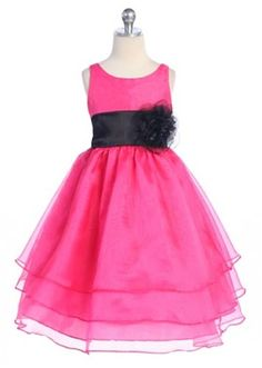 Girls hot pink Organza Dress with Sash. For Emily's wedding!