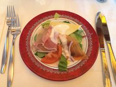 Starter of salad with smoked salmon, cold meat, and cheese at a restaurant near the sea in Volendam, The Netherlands for lunch. Absolutely loved this.