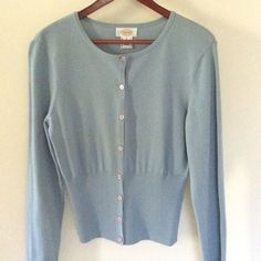 Talbots Powder Blue Lightweight Cardigan Size 8 Beautiful cardigan fitted at the bottom. It is in excellent used condition. Talbots Sweaters Cardigans