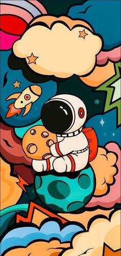 Cartoon Wallpaper Hd, Cool Wallpaper, Wallpaper Backgrounds, Galaxy Wallpaper Iphone, Cellphone Wallpaper, Wallpaper For Computer, Anime Wallpapers Iphone, Graffiti Wallpaper Iphone, Astronaut Cartoon