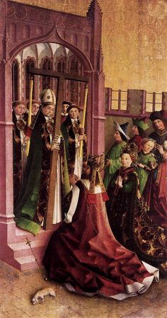 UNKNOWN MASTER, German  Darmstadt Altarpiece: Constantine and His Mother Helena Venerating the True Cross  1440s  Pine, 207x 109 cm  Staatliche Museen, Berlin