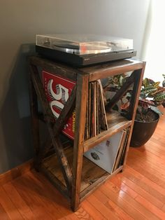 Rustic Record Player Stand, vinyl storage, X cross feature, Shabby chic record player cabinet – Kimberly Armstrong – Audioroom Record Player Table, Record Player Cabinet, Record Shelf, Record Stand, Vinyl Record Storage, Record Table, Audio Stand, Lp Storage, Record Players