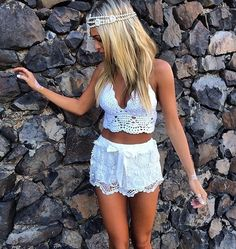 White Crochet Sleeveless Deep V Tie Halter Neck Low Back Bustier Crop Top NWT #365Chic #TankCami #Casual