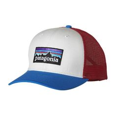 72849a984a8 Patagonia P-6 Trucker Hat - White w  Andes Blue WHAB Outdoor Hats